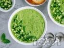 Рецепта Зелена студена супа гаспачо със спанак, краставица и зелена салата
